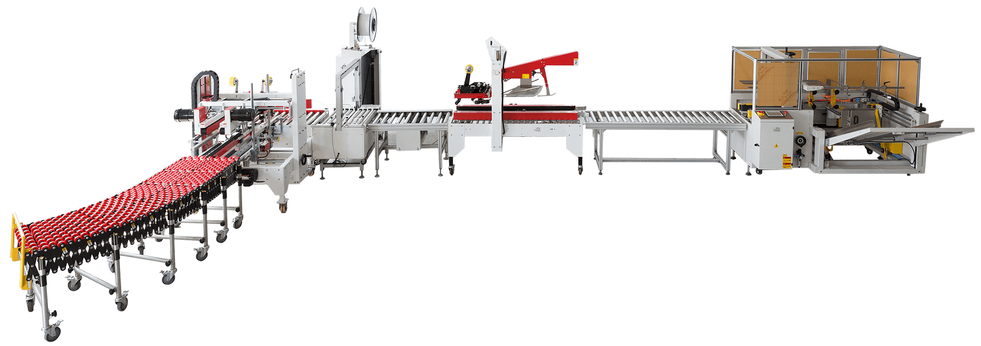 Carton-erector-H-type-carton-sealer-and-automatic-strapping-packing-line