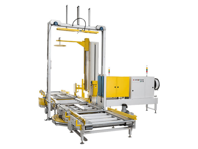 Fully-Automatic-strapping-machine-and-press-type-wrapping-machine-line