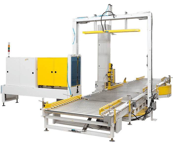 Fully-Automatic-press-type-strapping-and-wrapping-machine-line